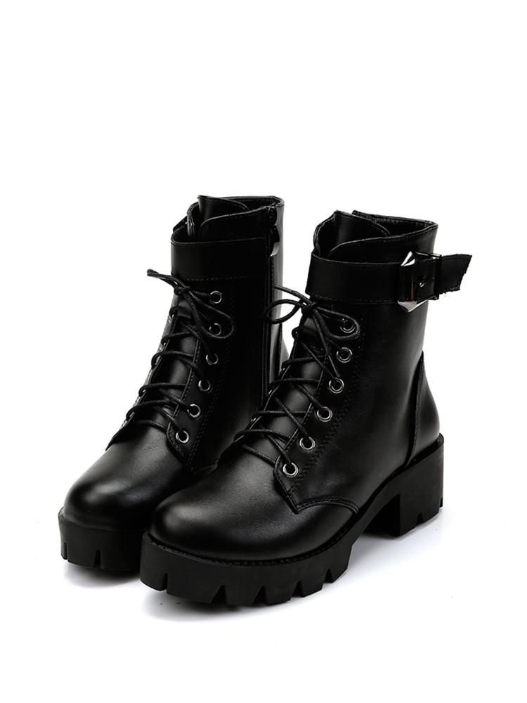 8fba96a668 SheIn - #SheIn Lace Up Platform Boots - AdoreWe.com | Tumblr fashion ...