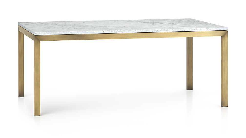 Parsons White Marble Top Brass Base 72x42 Dining Table Modern