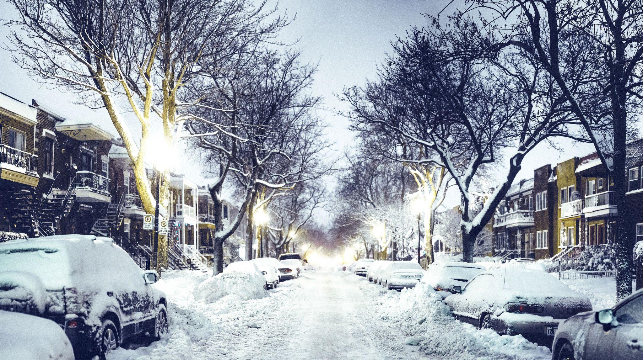Quebec City Winter Night Winter City Canada City Winter Wallpaper