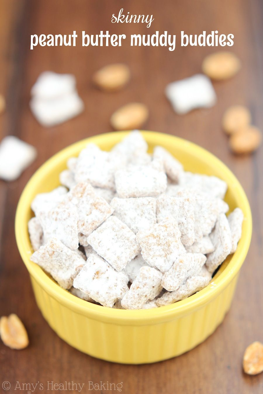 Skinny Peanut Butter Muddy Buddies -- sweet, crunchy & with 50% less fat & calories than the original recipe!