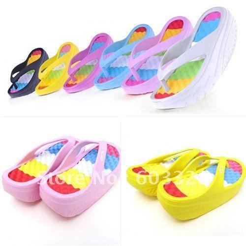 68fd05a2266 Womens Girls Beach Wedges Platform Massage Thong Slipper Sandals Rainbow  Shoes on AliExpress.com.  76.00