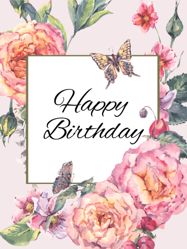 Send Free Elegant Flower Happy Birthday Card To Loved Ones On Greeting Cards By Davia Its 100 And You Also Can Use Your Own Customized