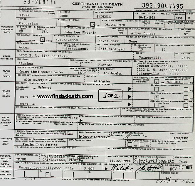 River Phoenix\'s death certificate. Official cause of death was acute ...