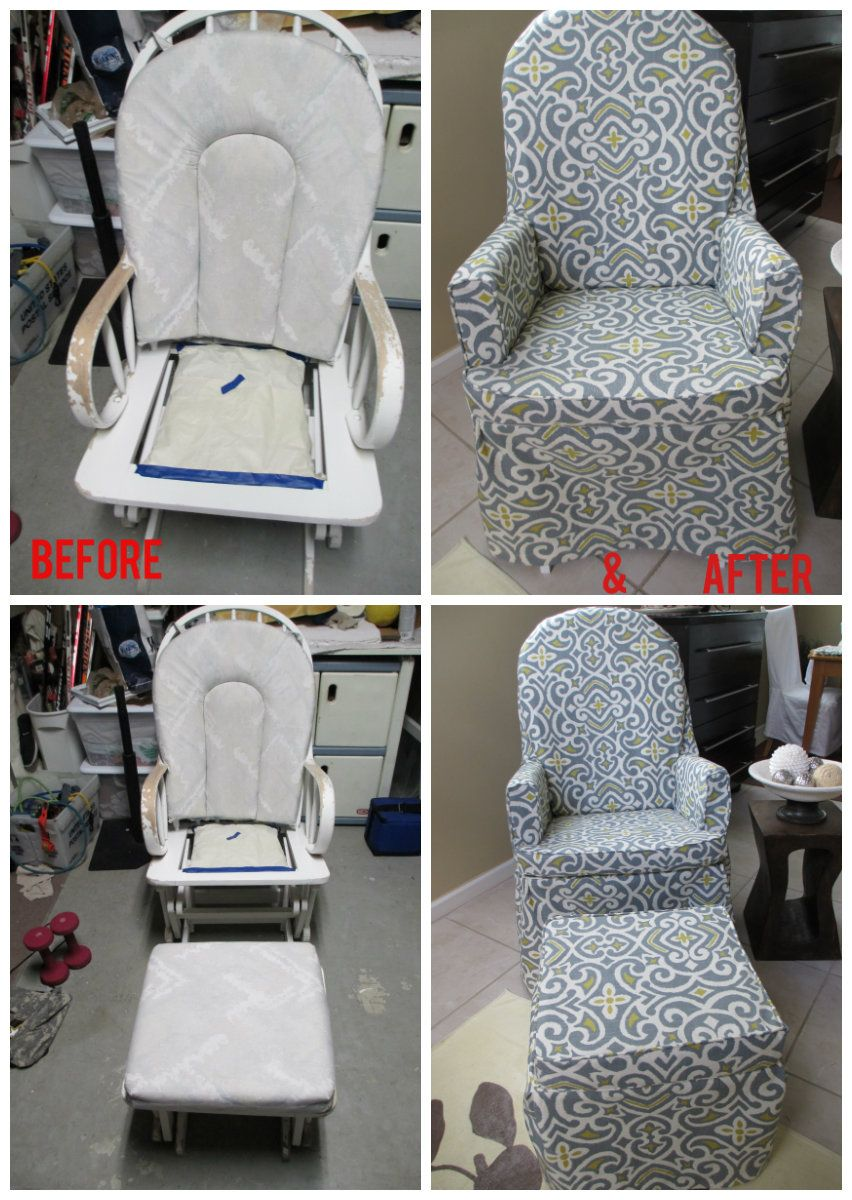 how to recover glider rocking chair cushions lift for sale ugly no more i reshaped and recovered the now it clean up beloved rocker is ready