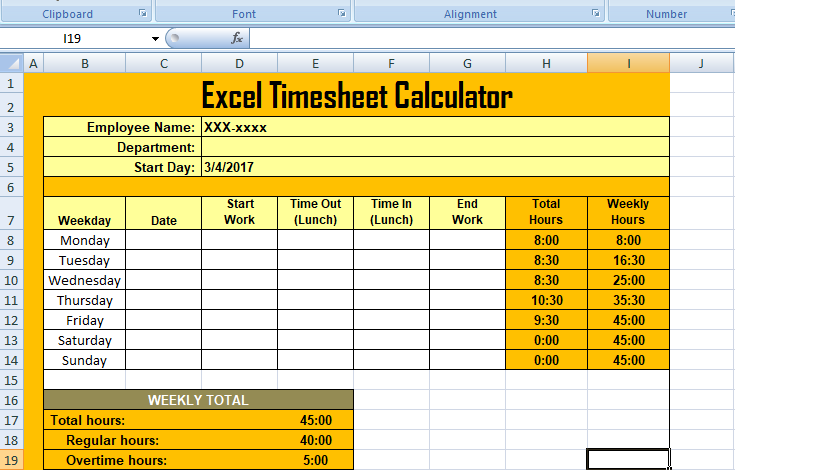 Get Excel Timesheet Calculator Template Xls  Xlstemplates