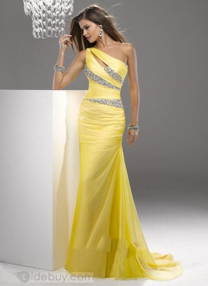 Vestidos de noche amarillo canario