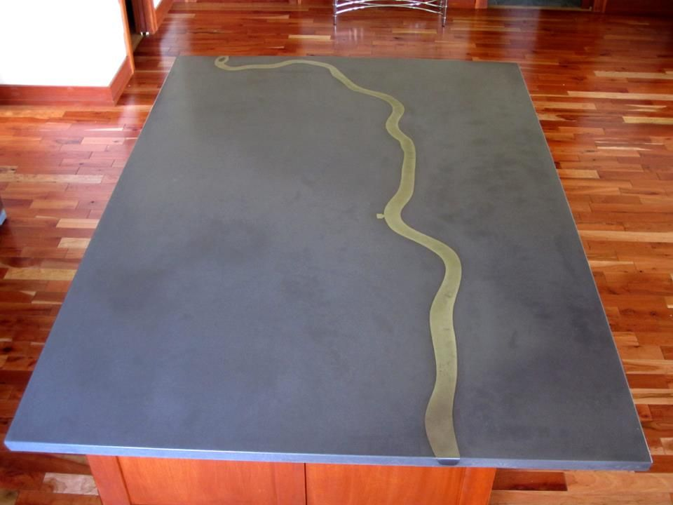 concrete table top metal strip actual shape river running round 36 planter