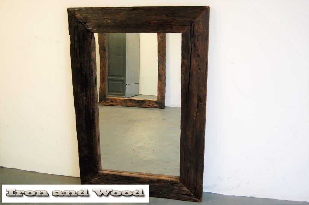 Grote Spiegel Industrieel : Grote robuuste spiegel van hardhouten wagondelen sloophout