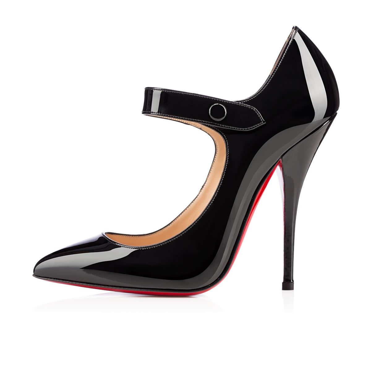 """Make way for """"Neo Pensee,"""" a new style for the Fall/Winter season. Her beautiful pointed toe silhouette has a jaw-dropping 120mm pitch that comes equipped with a Mary Jane strap to buckle you in. Let her transform your looks in black patent leather."""