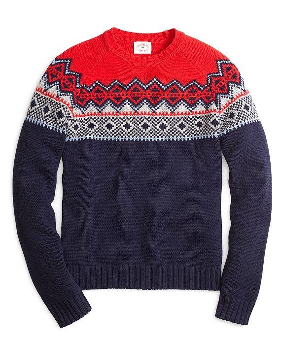 Fair Isle Crewneck Sweater Navy | Knitting Design Inspiration ...
