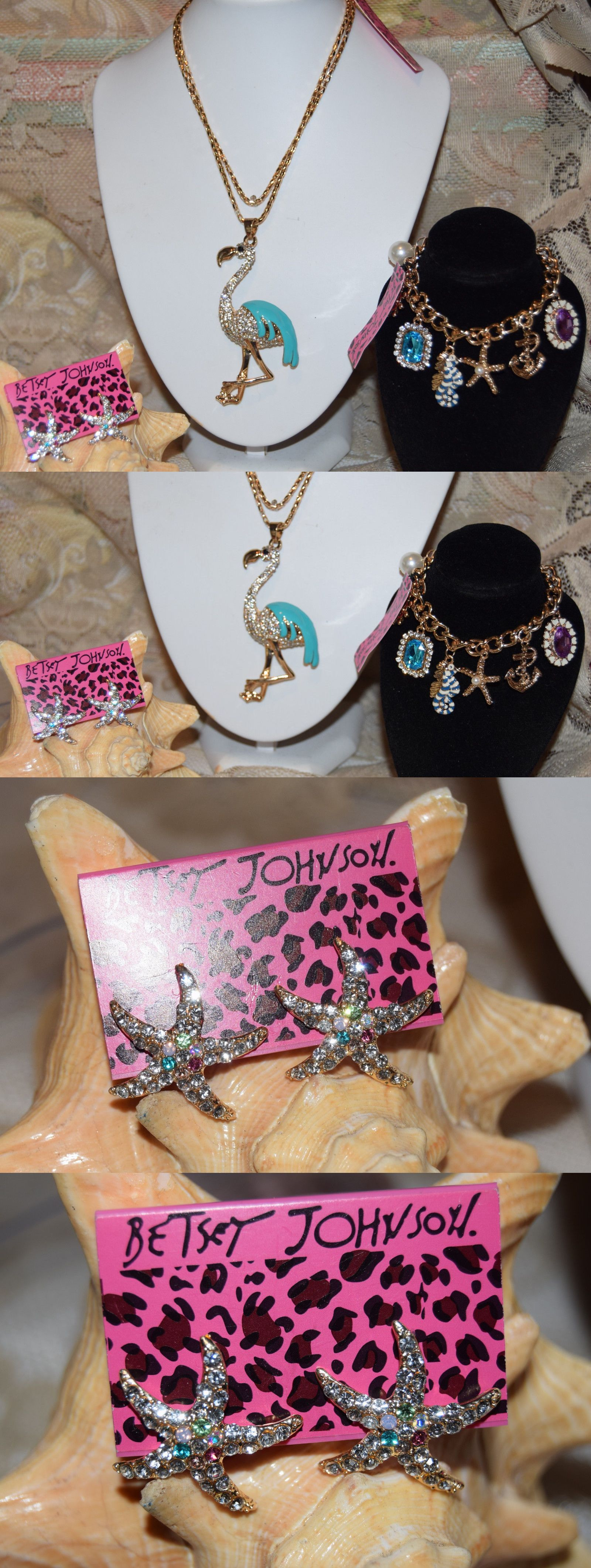 Jewelry Sets 50692: 3 Pc Betsey Johnson Crystal Flamingo Necklace Starfish  Earring And Charm Bracelet