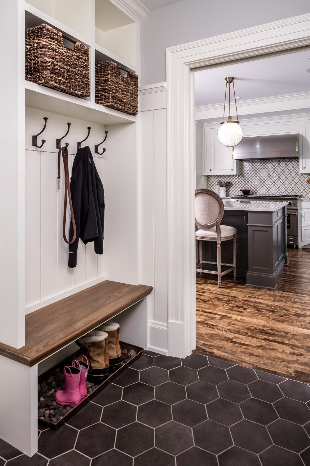 Mud Room Bench With Shoe Storage Underneath Hooks High Baskets For Additional