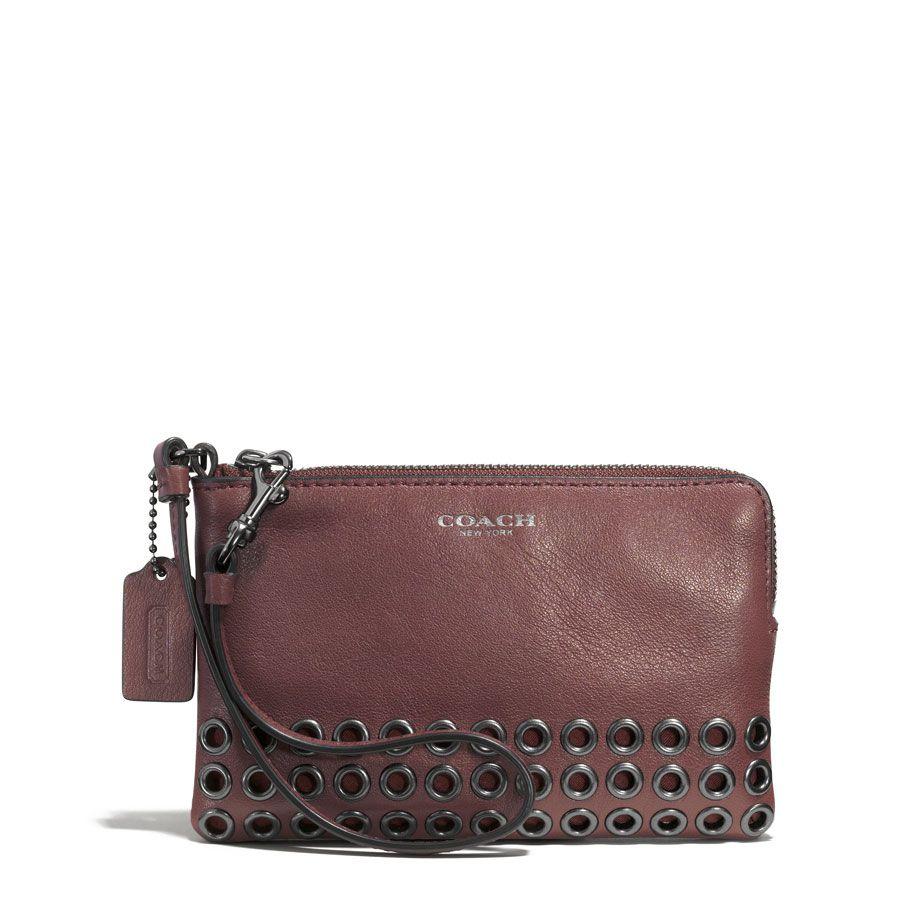 COACH Bleecker Grommet Small Wristlet in Leather