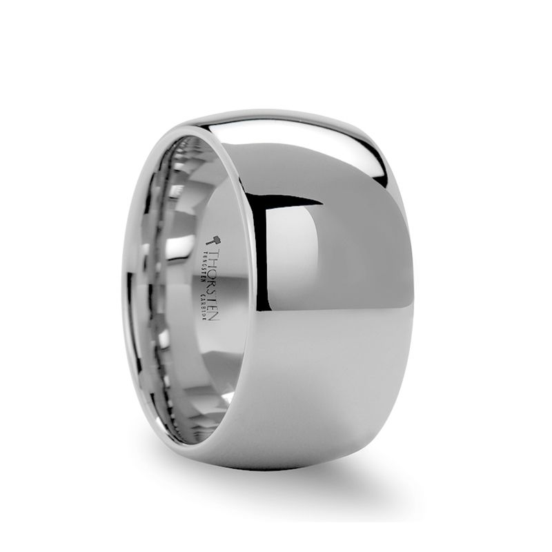 Aemilius Wide Domed White Tungsten Wedding Band For Men 12mm