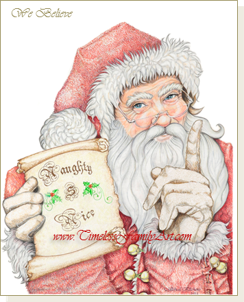 colored pencil drawing of santa with his naughty nice list nice list create image