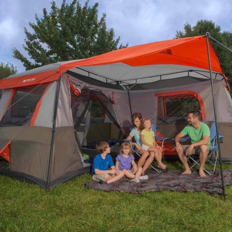 Genuine Ozark Trail 12 Person 3 Room L-Shaped Instant Cabin 16x16 C&ing Tent & Genuine Ozark Trail 12 Person 3 Room L-Shaped Instant Cabin 16x16 ...