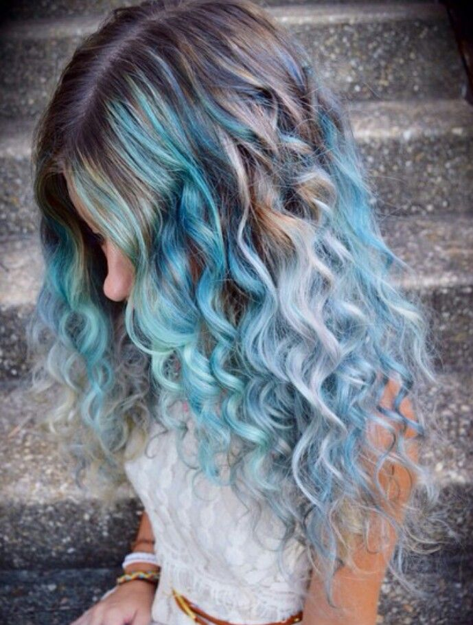 blue pastel hair #hairstyle #colorful