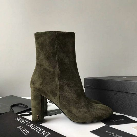 10c31a4d 2017 New Saint Laurent LOULOU 95 Zipped Ankle Bootie in Green Suede ...
