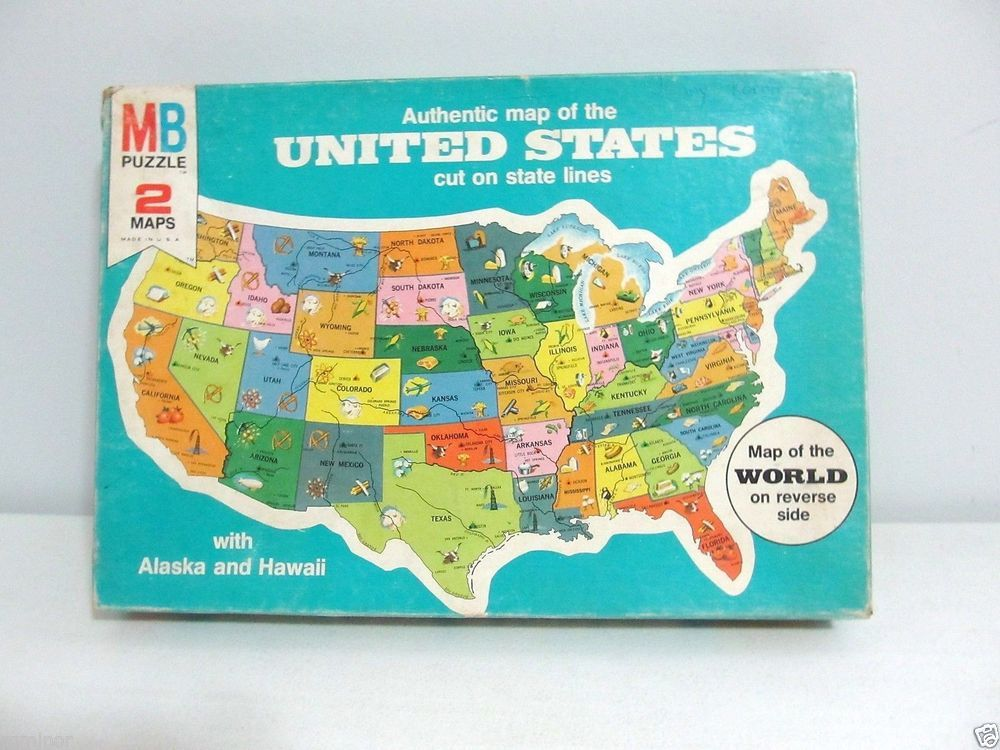 GAME Map of the U.S. Puzzle Milton Bradley DOUBLE-SIDED 4806 ...