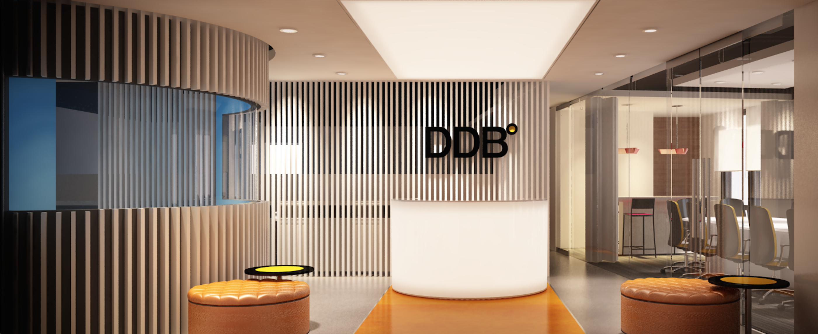 office reception. ddb office reception 3d design a