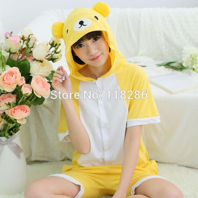 New Unisex Cotton Rilakkuma Pajama Adult Onesies Cartoon Bear
