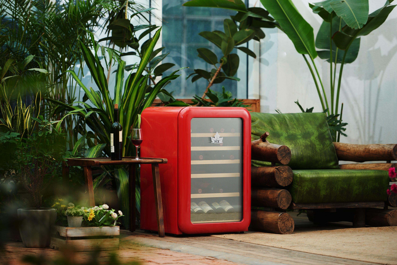 Hck 30 Bollte Retro Wine Cooler In Red Wine Cooler Retro Fridge Cooler