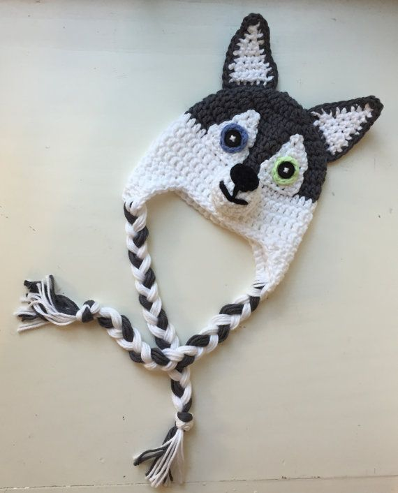 Husky Dog Cap Handmade Crochet Character Hat por BabyByBecca ...