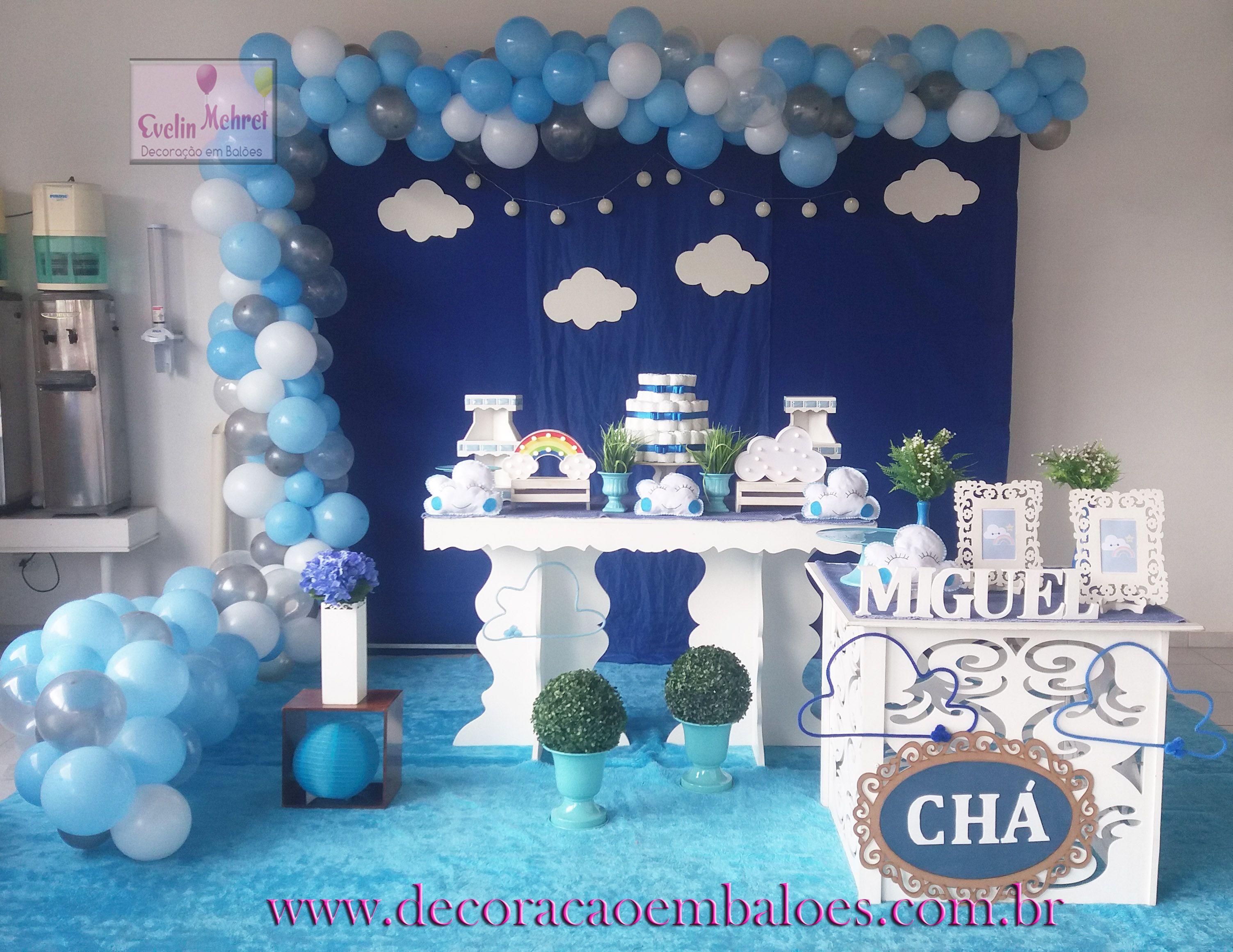 Nuvens Azul E Branco Com Imagens Decoracao Cha De Bebe Bolo