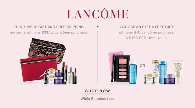 Free shipping and free gifts with $39 or 70 Lancome purchase at Lord and Taylor http
