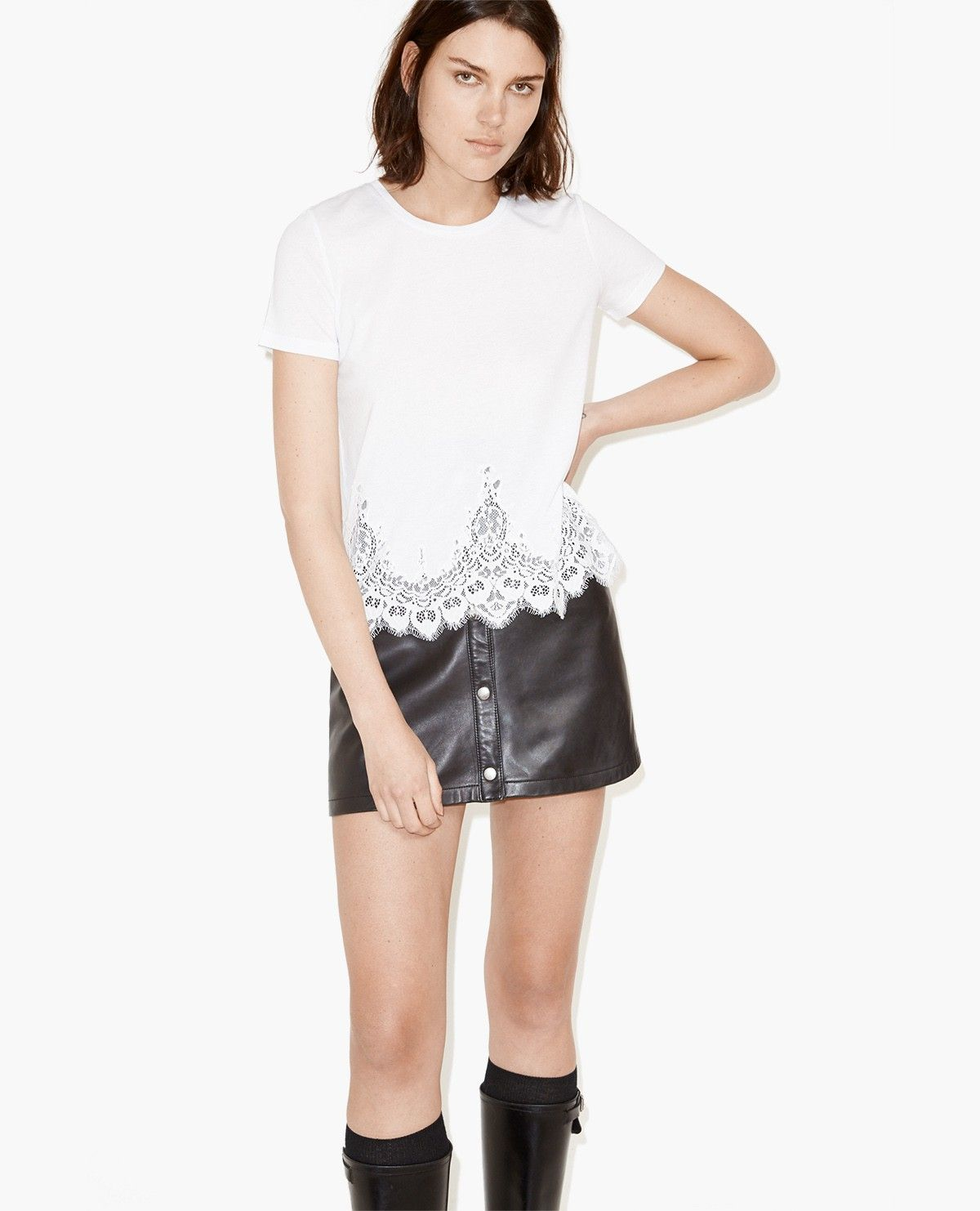 T-shirt with lace panels - The Kooples