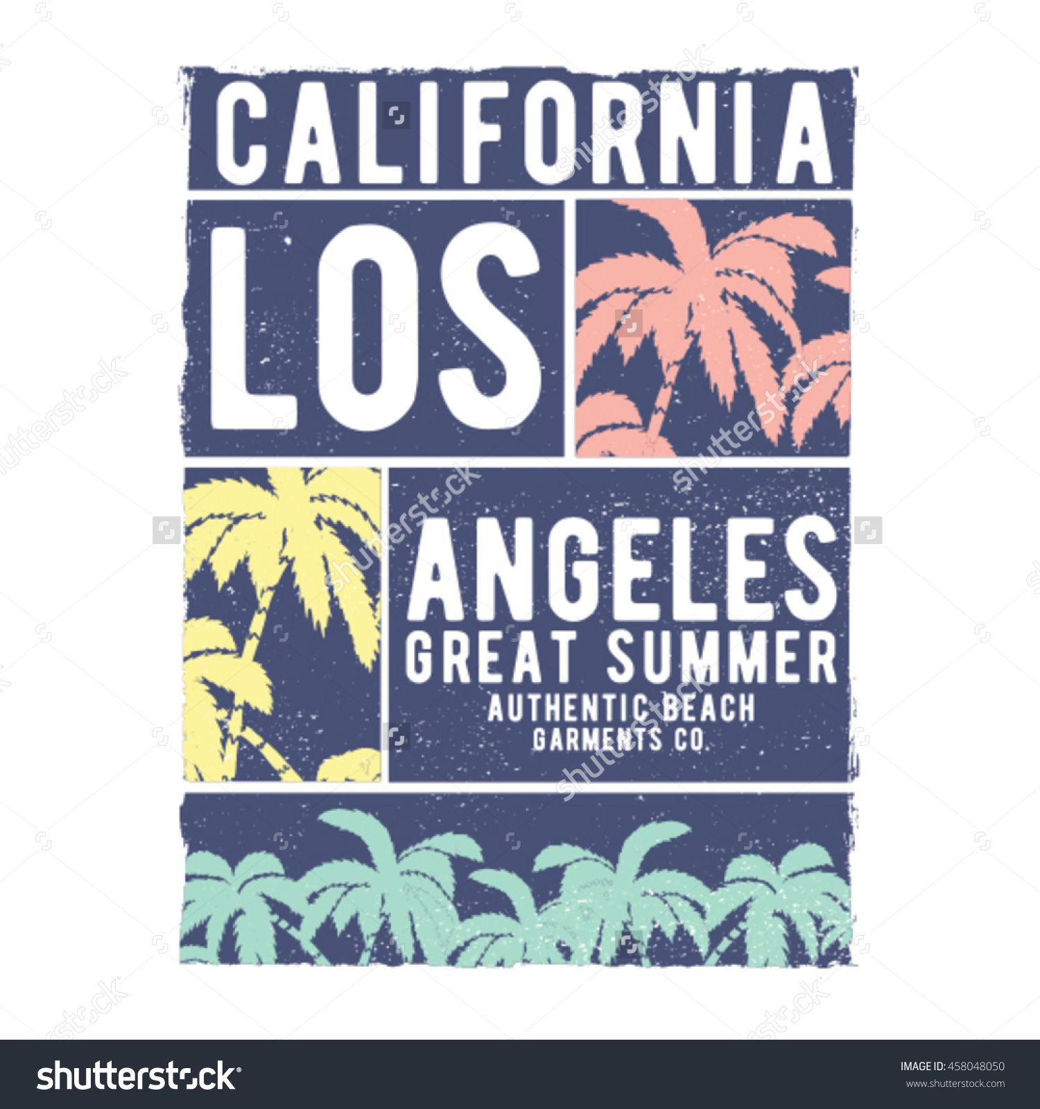 tee print design with palms vectors and typo
