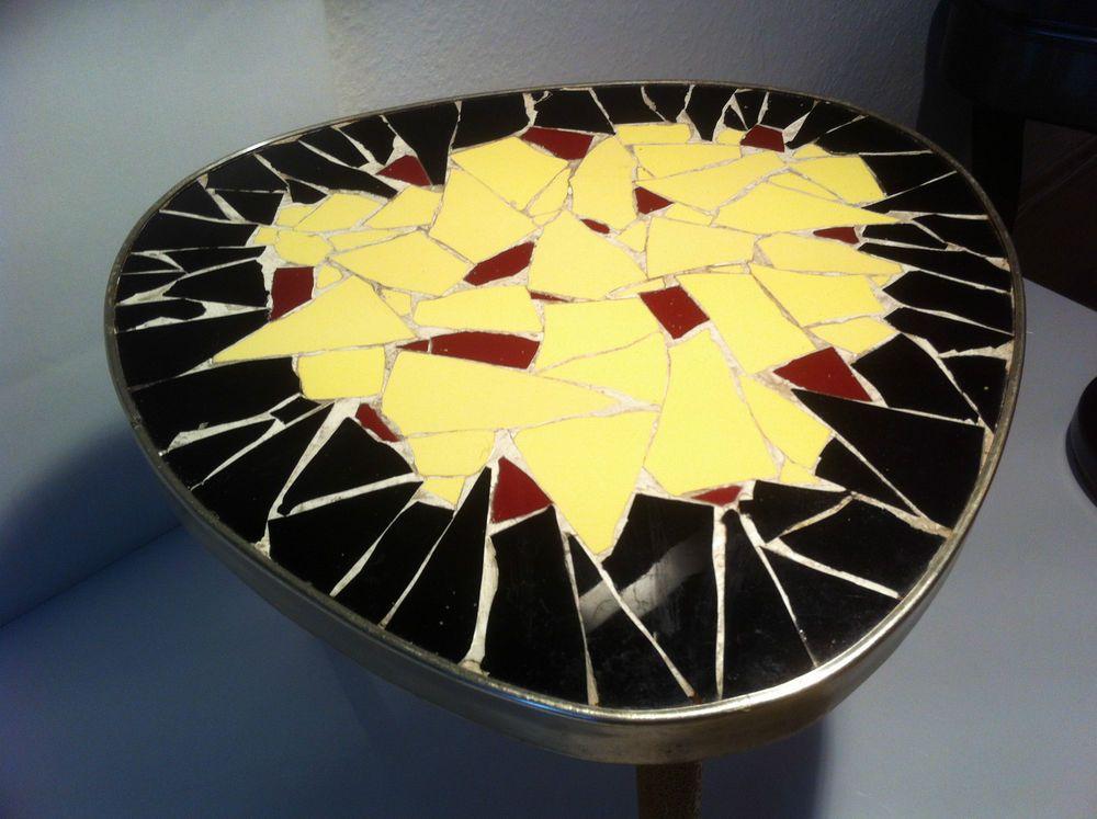 Vintage 50er J. Design Blumen Tisch Mosaik Dekor Nierentisch Ära Tolles  Muster