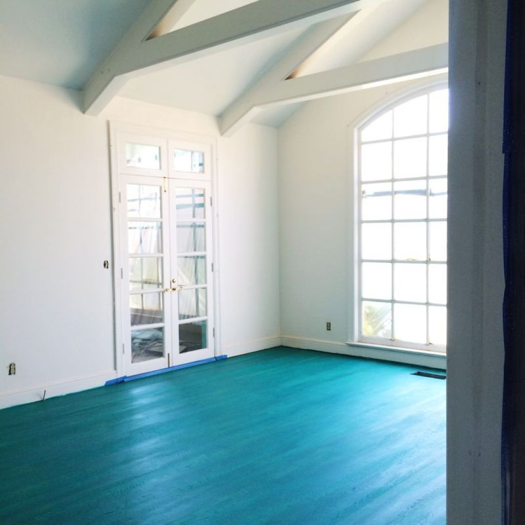 Colorful Mess Room: House Interior With Blue Floor Color