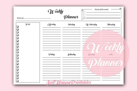 Printable Planner Weekly Planner Digital Planner Page  Weekly