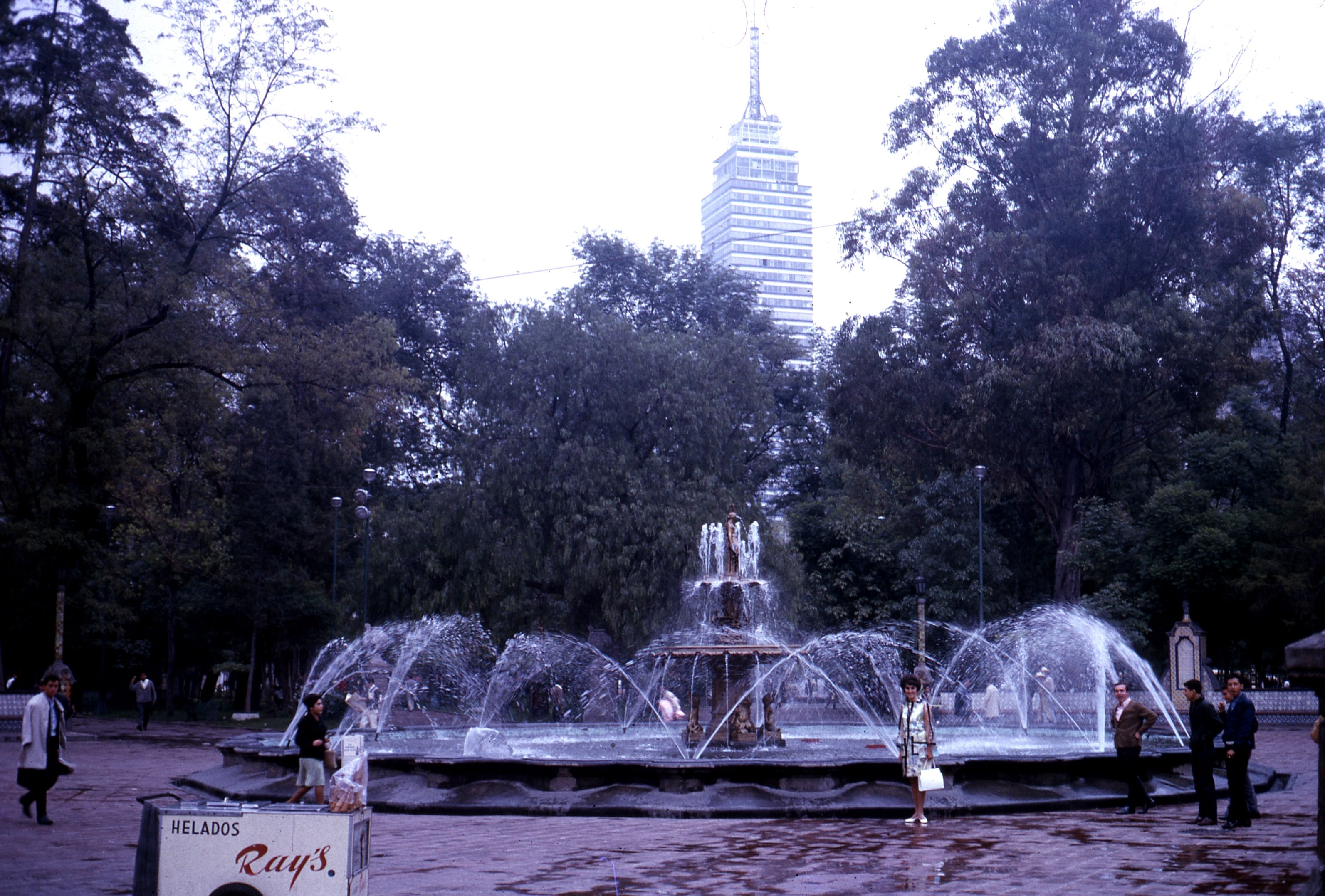 Alameda Park with fountain and Empire State Building look alike