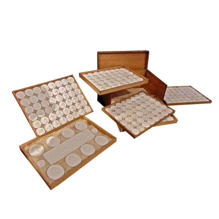 Grand Tour Period Original Box of European and Roman Intaglios | From a unique collection of antique and modern desk accessories at https://www.1stdibs.com/furniture/more-furniture-collectibles/desk-accessories/