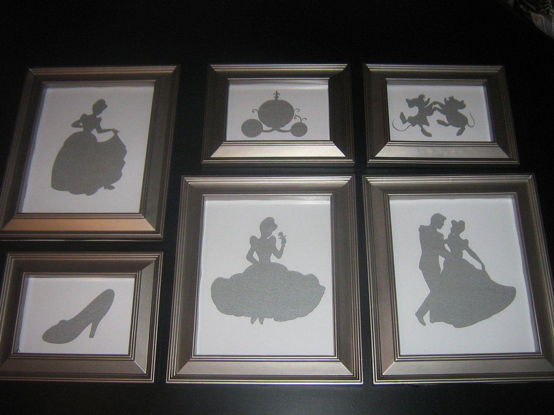 Framed nursery art, disney princess silhouette, Cinderella art, once ...