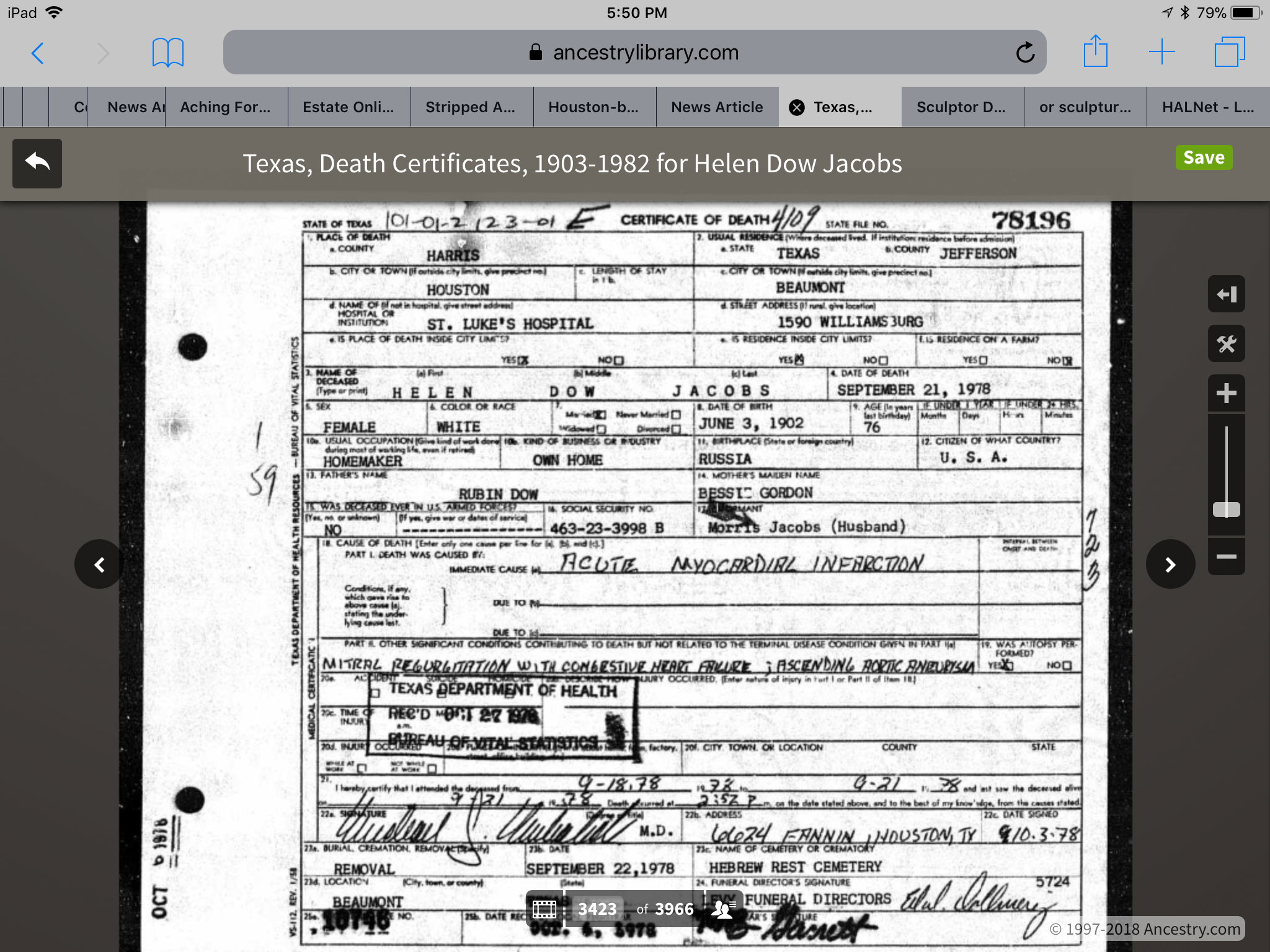 Helen Dow Jacobs In The Texas Death Certificates 1903 1982 Name