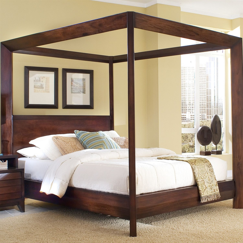 Queen Size Wooden Canopy Bed In Mocha