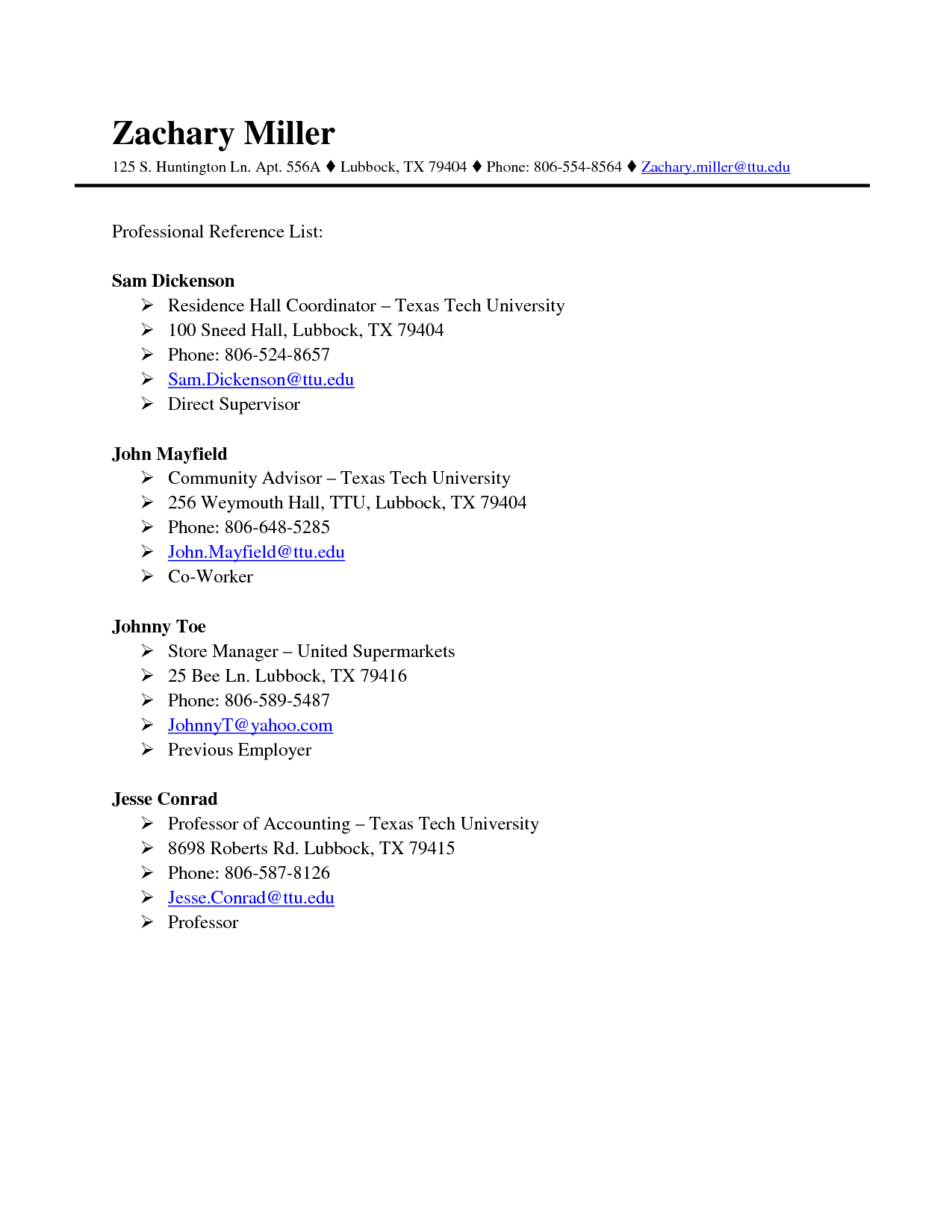 How To Write Professional References On A Resume Professional References Page Template Http Www