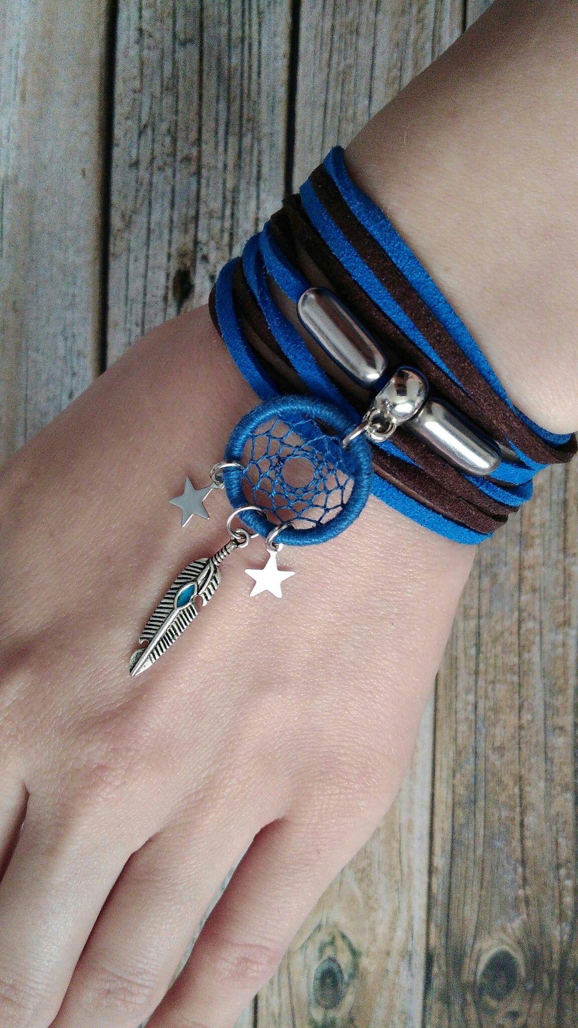 f0a6b6322f9e9 Dreamcatcher Bracelet. Dimensionless bracelet. Tied. Bracelet. Blue ...