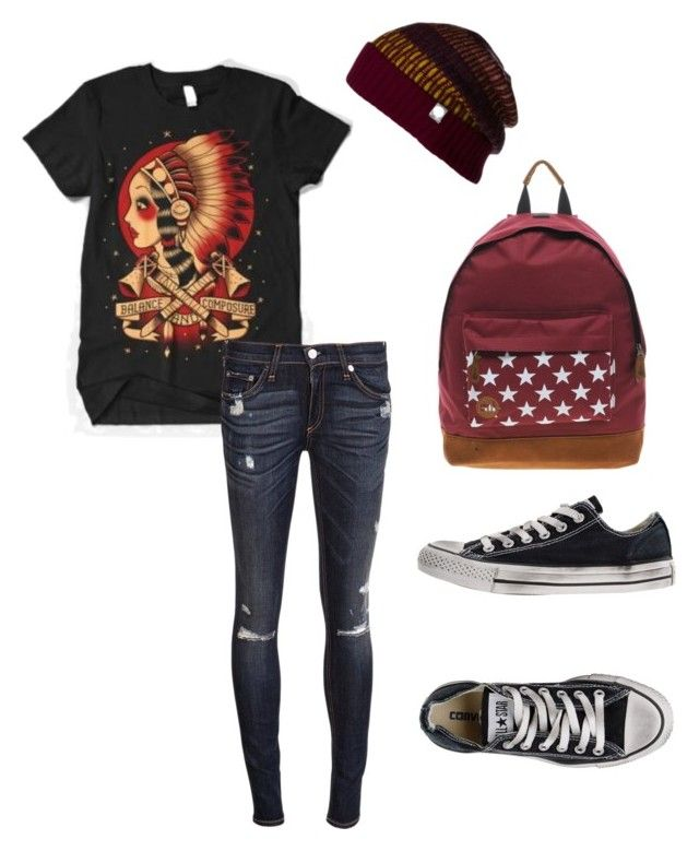 """Typical Pop-punk kid."" by rhope ❤ liked on Polyvore featuring rag & bone, Converse and MiPac"