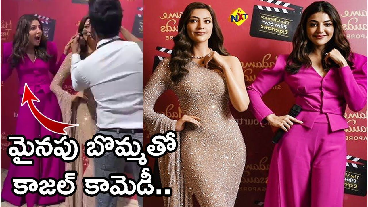 Kajal Aggarwal Fun With Her Wax Statue In 2020 Wax Statue Formal Dresses Long Formal Dresses