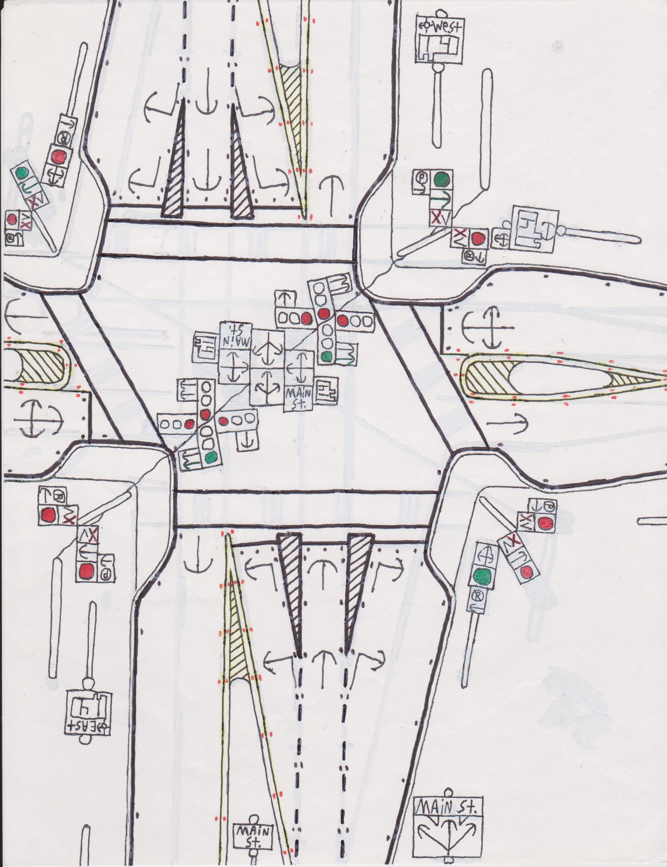 4-way traffic light intersection.   Road Drawings Stuff   Pinterest ...