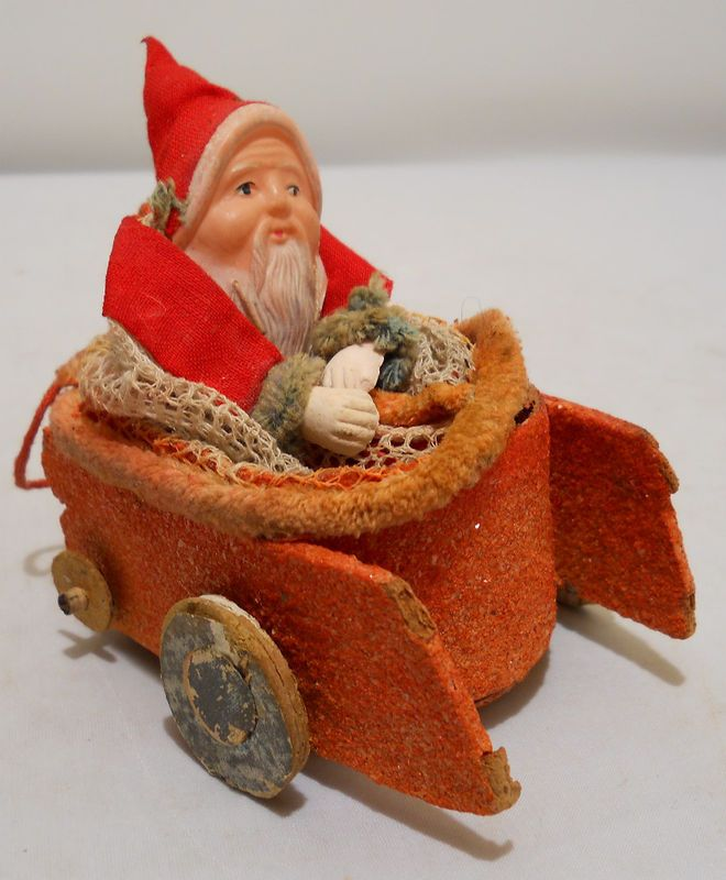1930's Japanese Santa in Car/sleigh Container/ornament ...