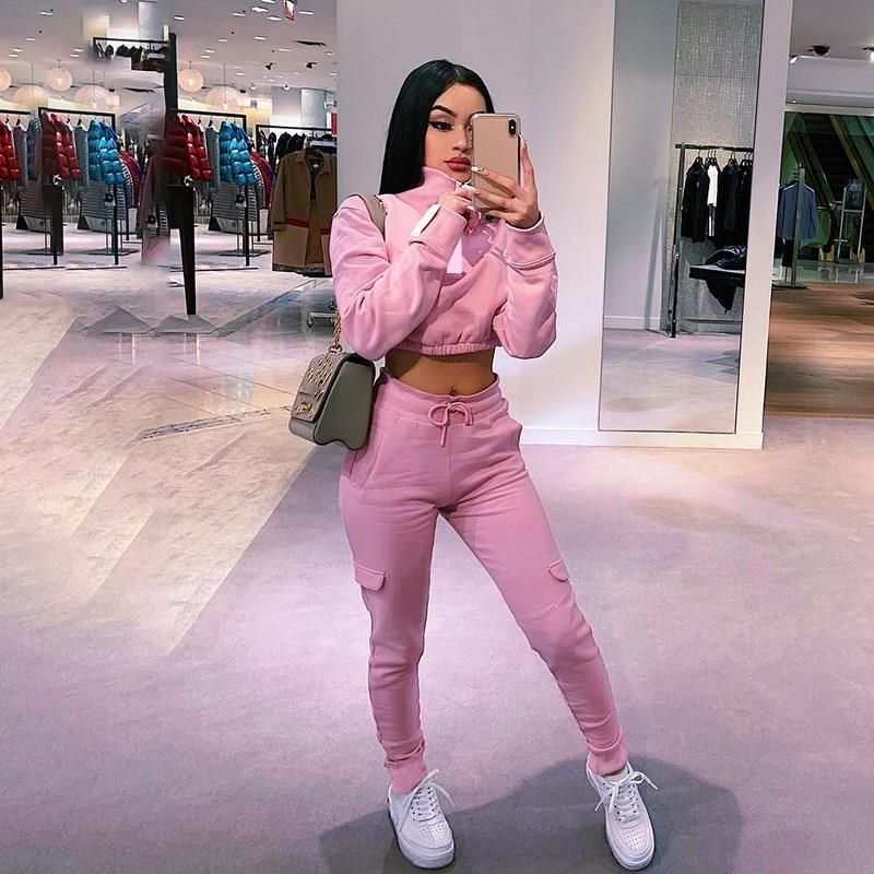 Women Two Piece Set Top And Hollow Pants  Love PINK Tracksuit