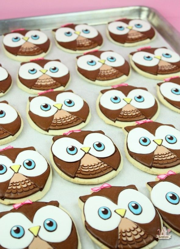sugar cookie owls decorated with royal icing - Sugar Cookie Decorating