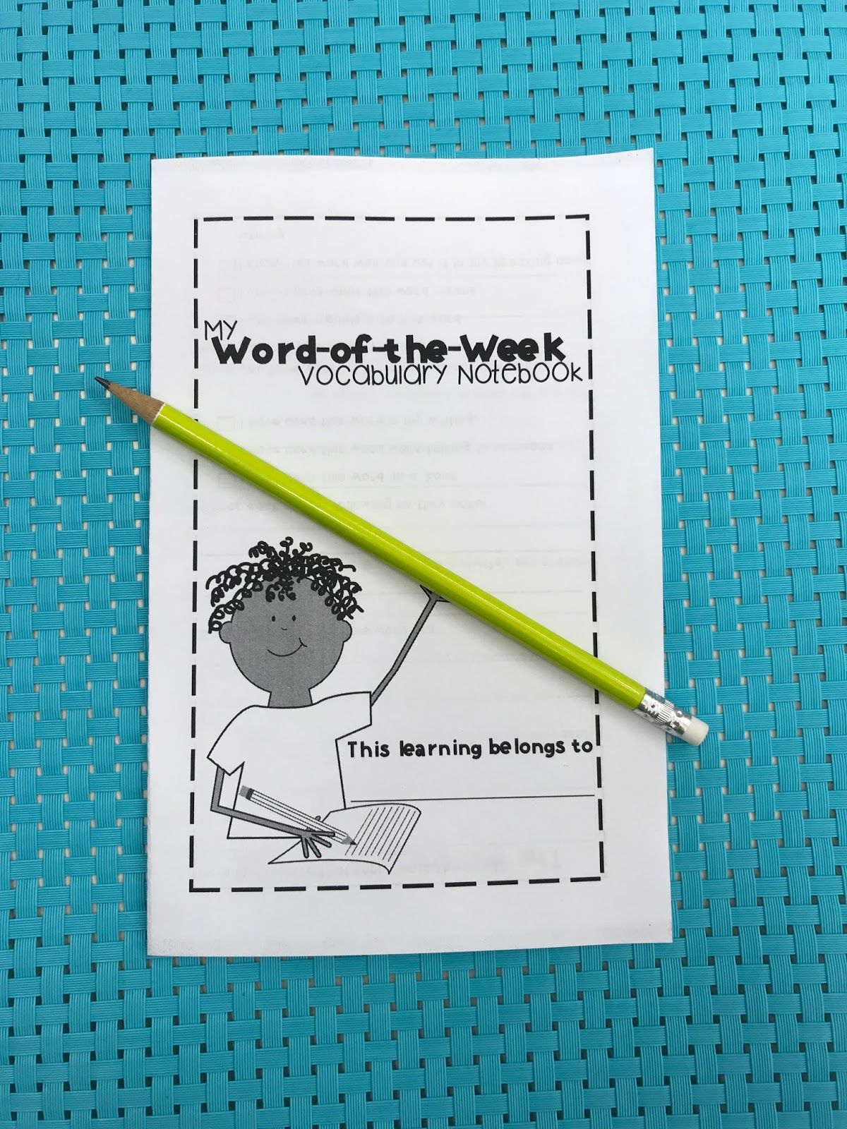 Freebie Friday Word Of The Week Vocabulary Notebook
