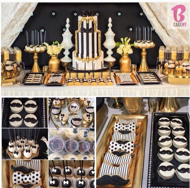 Gold Black White Mustache Baby Showers For Boys With Images