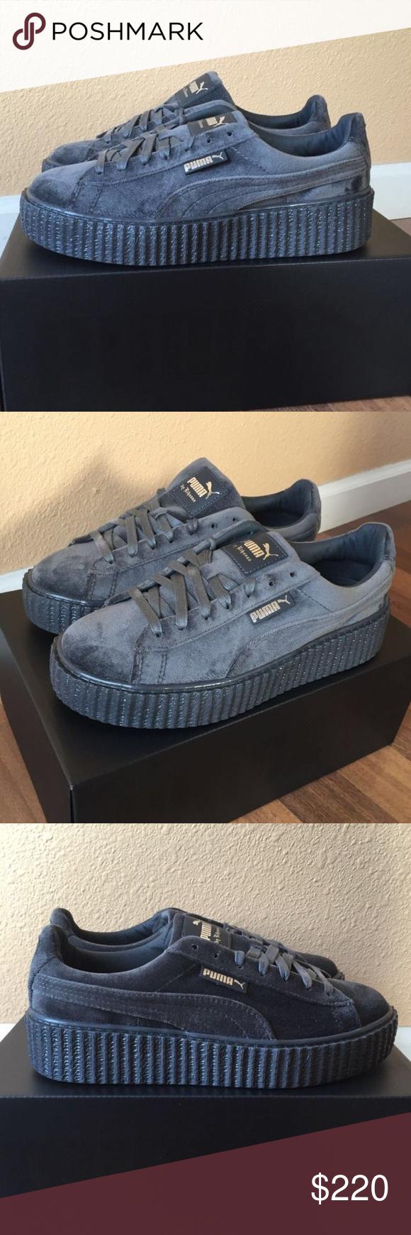 PUMA X RIHANNA Velvet CREEPERS FENTY Grey ✨ PUMA X RIHANNA Velvet CREEPERS FENTY Glacier Grey  // New with tags ✨// Women's size 8 // Puma Shoes Sneakers
